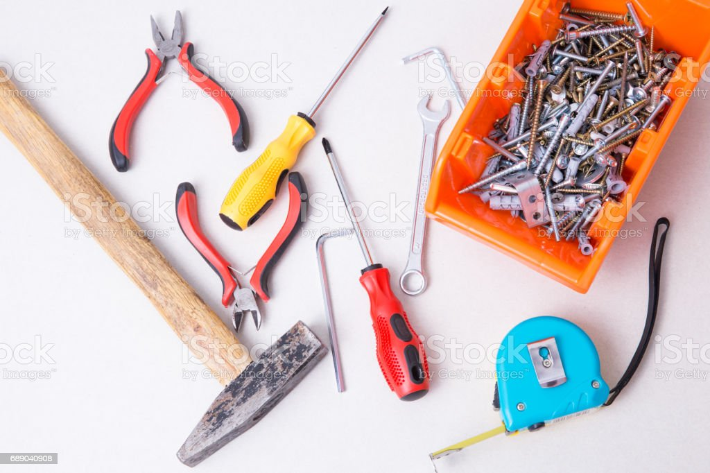 Tools for furniture assembly. stock photo