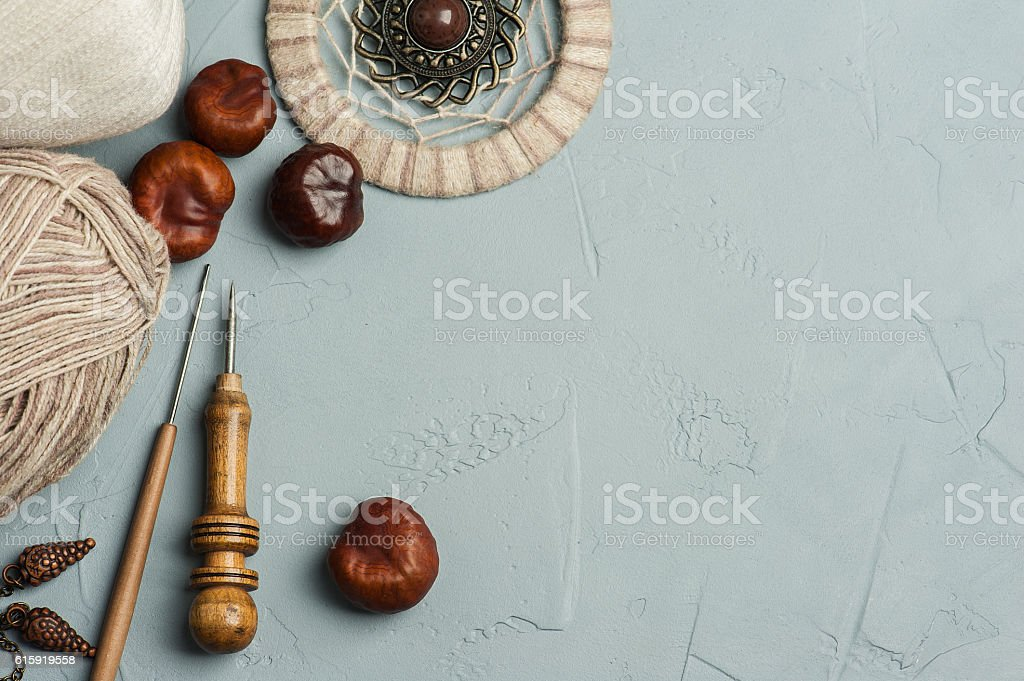 Tools for handmade, yarn, dream catcher stock photo