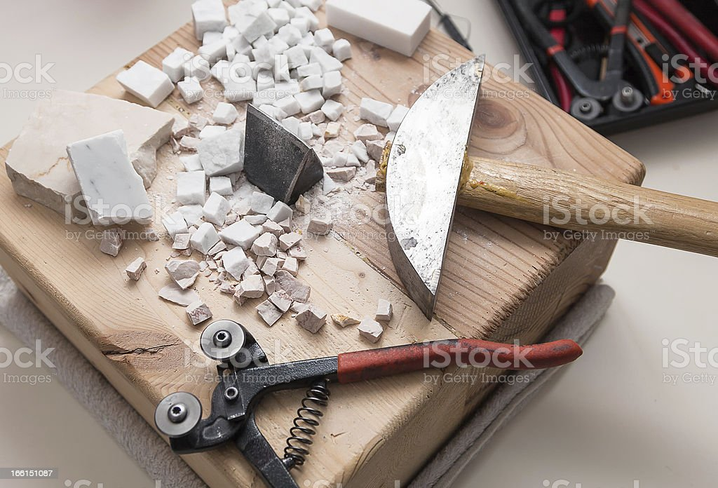 tools for mosaic royalty-free stock photo
