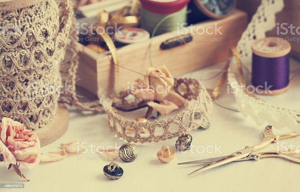 Tools for needlework stock photo