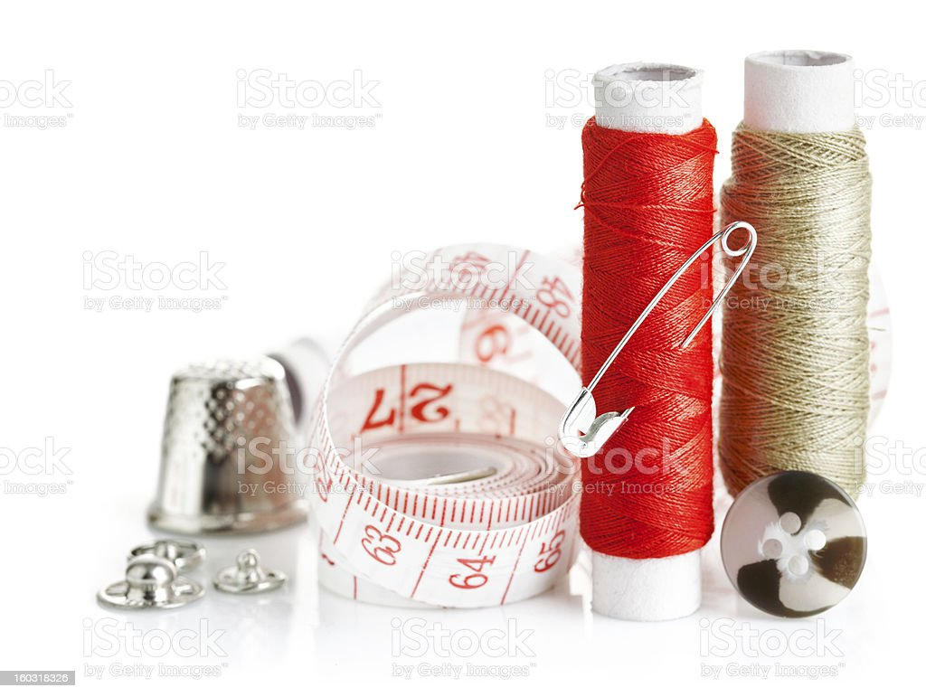 tools for needlework thread and tape measure royalty-free stock photo