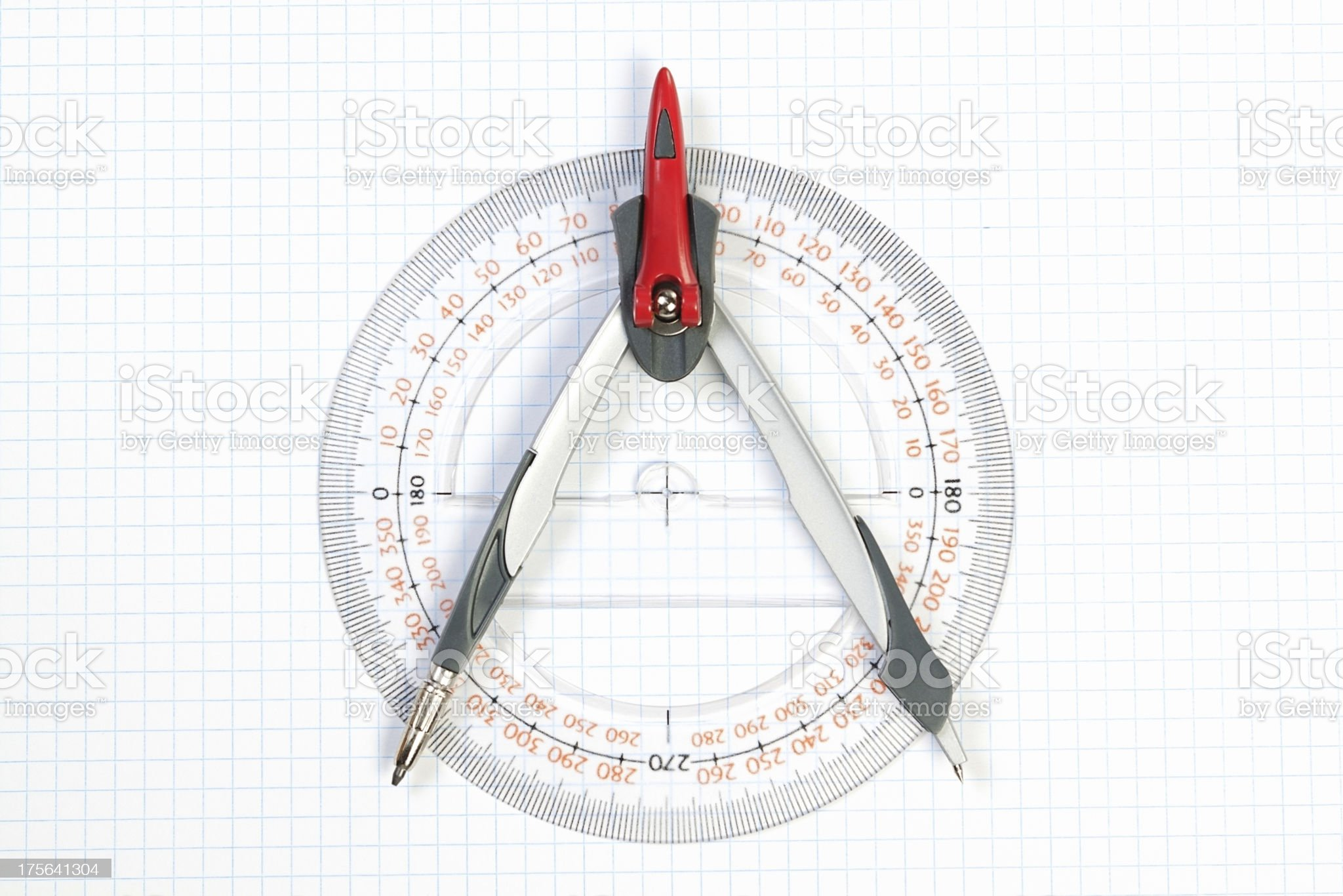 Tools for Plotting compass and protractor. On a white background royalty-free stock photo