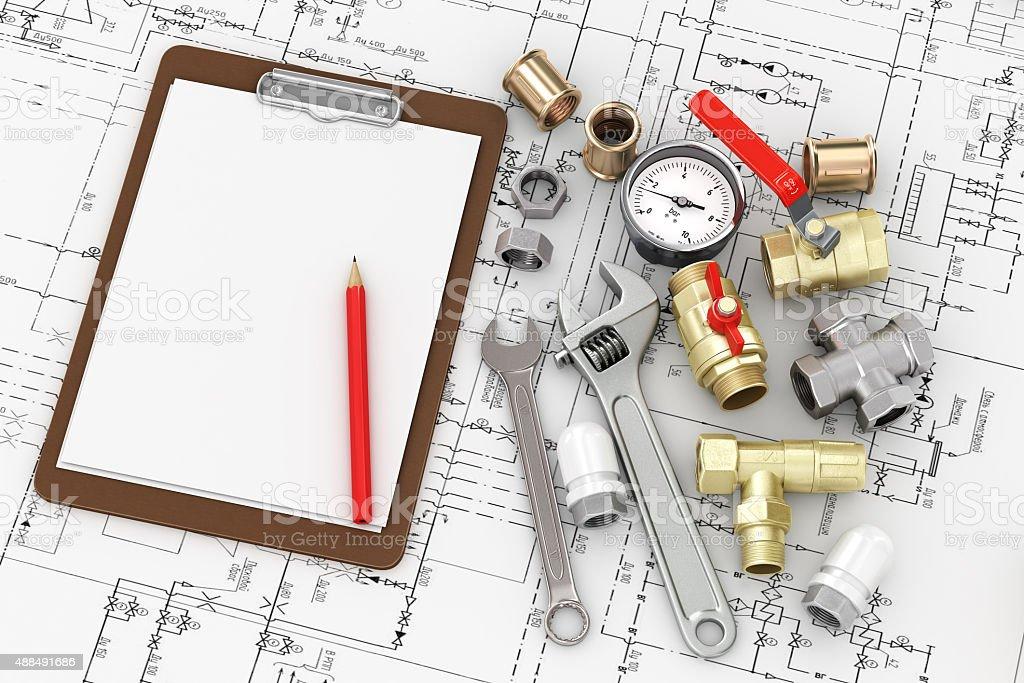 Tools for repair plumbing stock photo