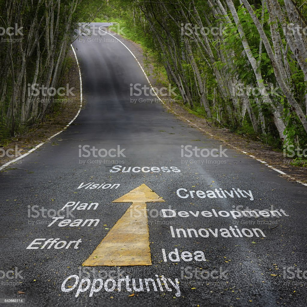 Tools for success words on the road stock photo