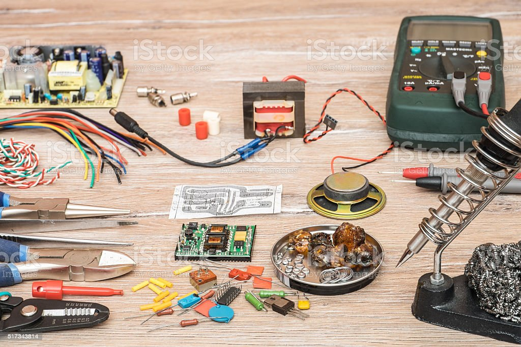 Tools for the designing and repair of electronic devices. stock photo