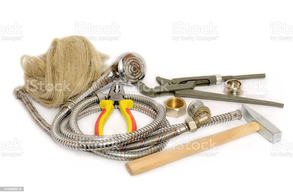 tools for the repair of water supply stock photo