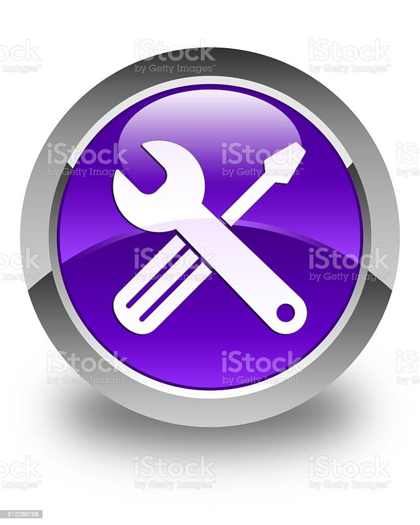 Tools icon glossy purple round button stock photo