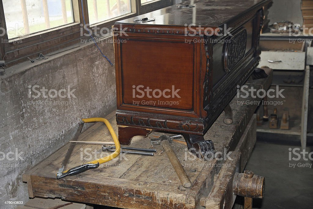 tools in a dusty carpentry workshop expert royalty-free stock photo
