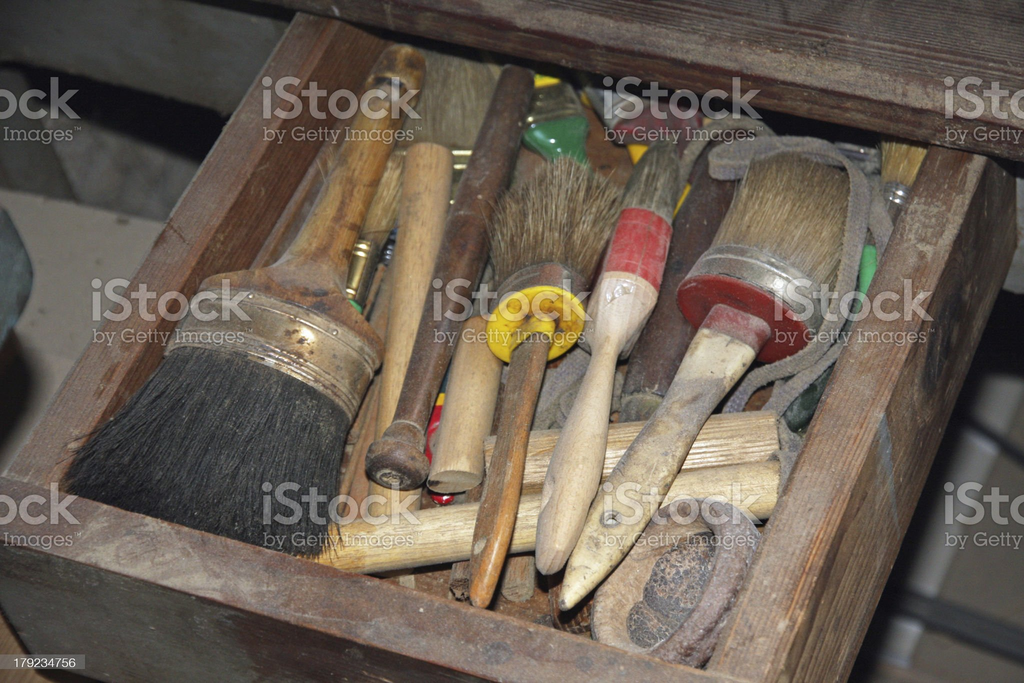 tools in a dusty carpentry workshop royalty-free stock photo