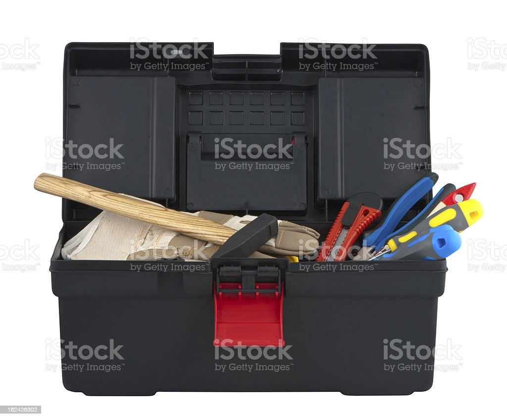 Tools in box isolated on white background. royalty-free stock photo