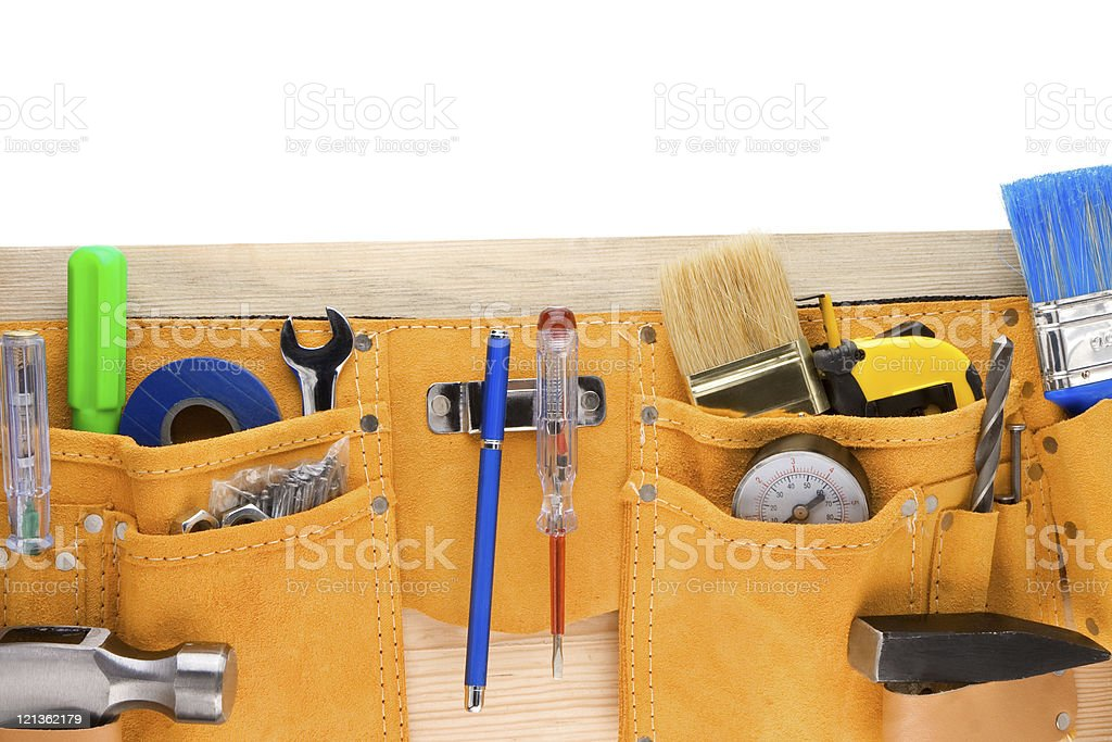 tools in leathern belt isolated on white royalty-free stock photo