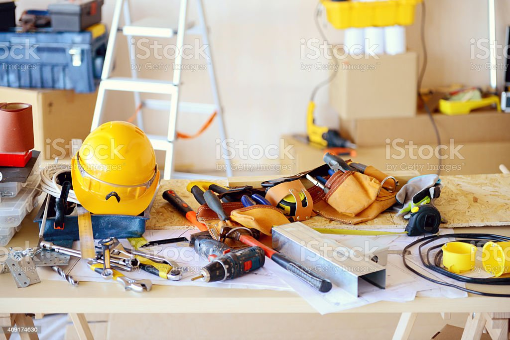 tools in the construction workshop stock photo