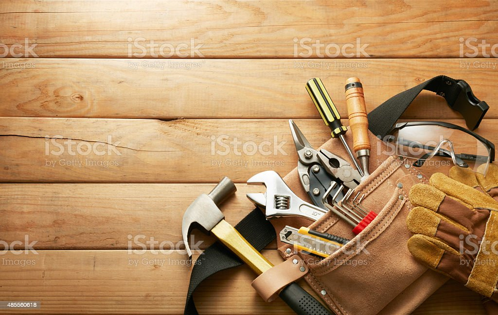 tools in tool belt stock photo