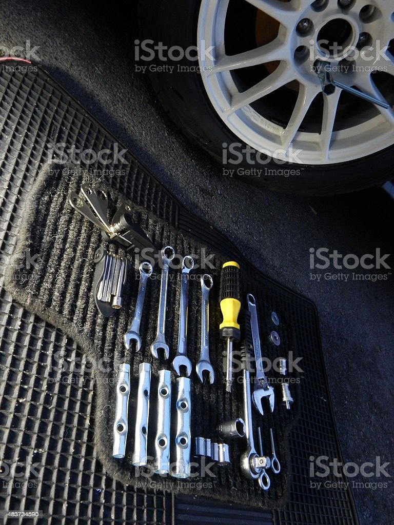 Tools kit for installation of car wheels stock photo