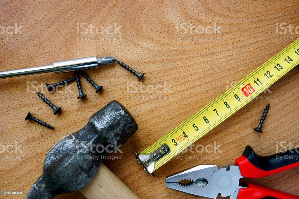Tools kit on a wood background. stock photo