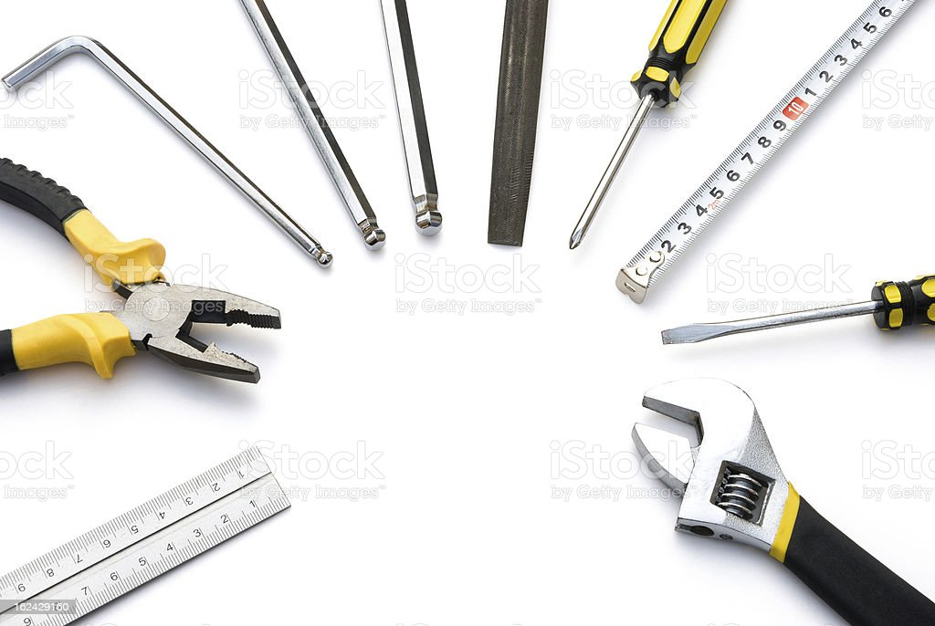 tools lined up as a circle with clipping path royalty-free stock photo