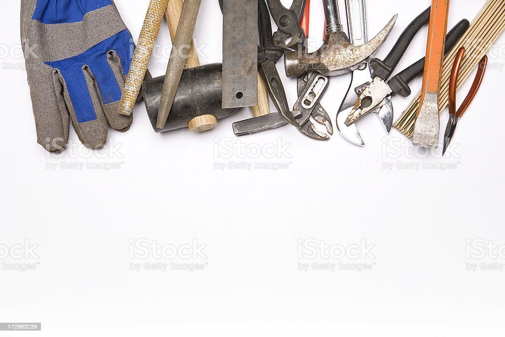 Tools of a carpenter and construction material. royalty-free stock photo