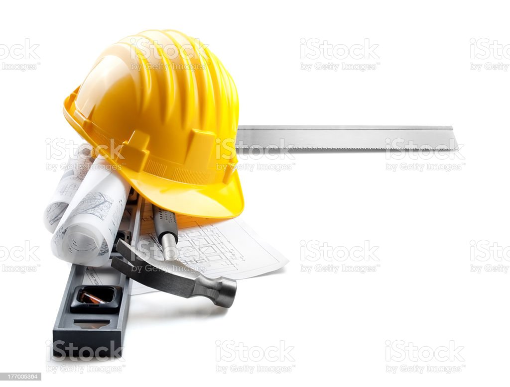 Tools of a construction worker against white background royalty-free stock photo