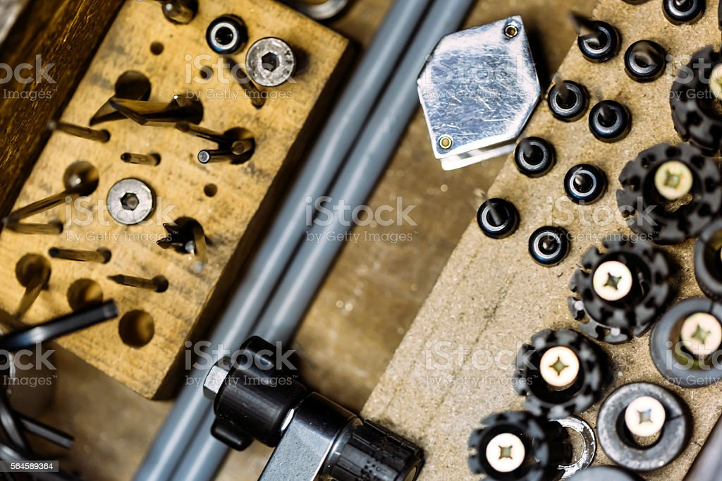 Tools of a jeweler stock photo