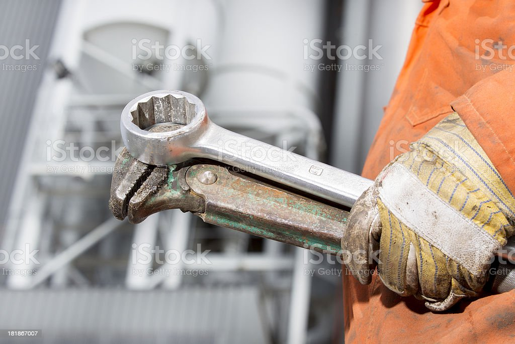 Tools of a repairman and mechanic at work. royalty-free stock photo