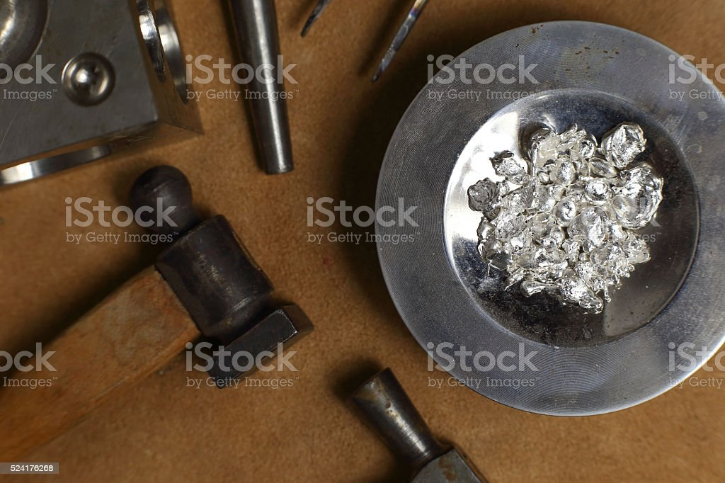 Tools of jewellery. Jewelry workplace on leather background stock photo
