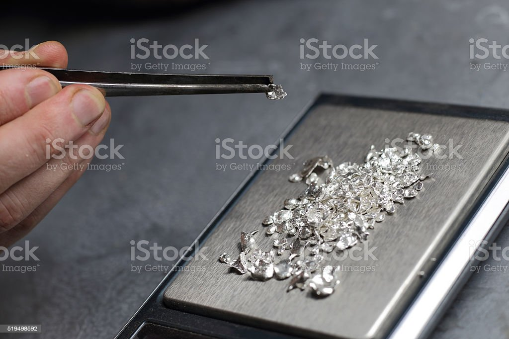 Tools of jewellery. Jewelry workplace on metal background. stock photo