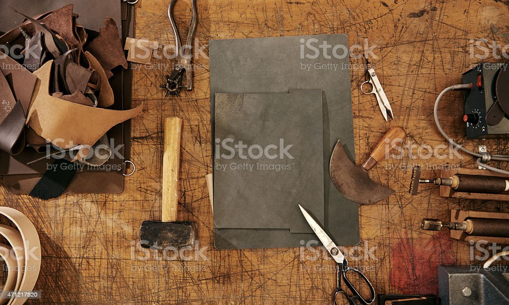 Tools of the leather craft trade stock photo