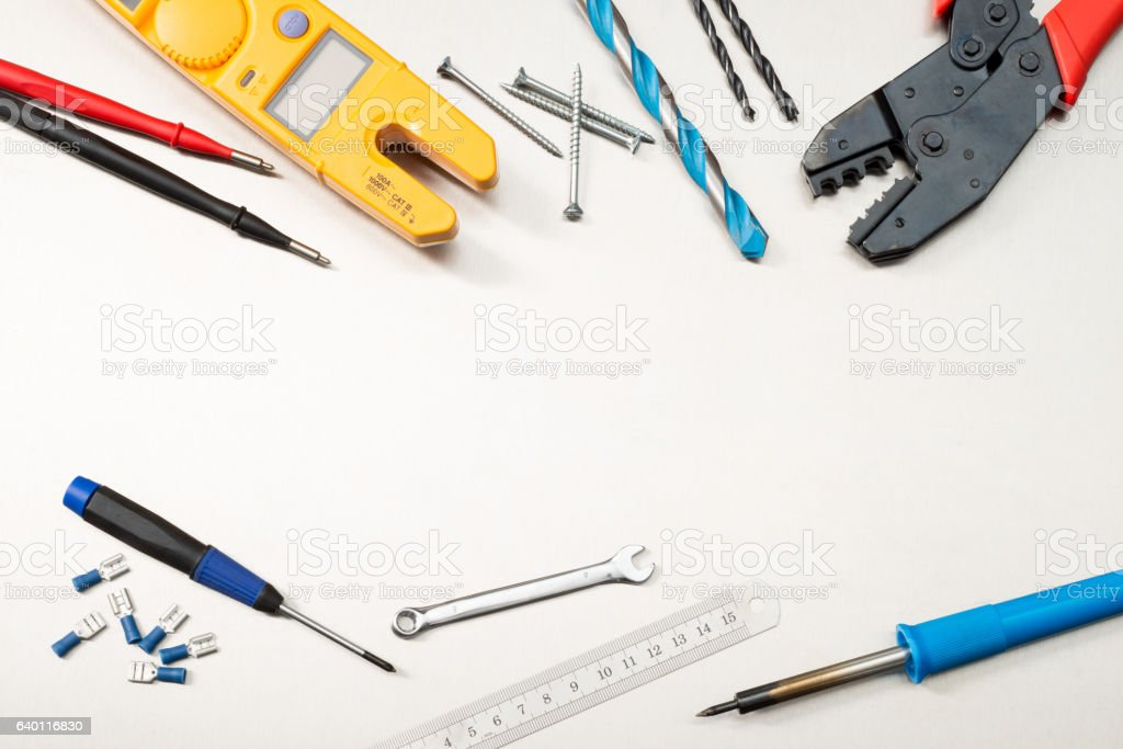 Tools of the trade for an electrician stock photo
