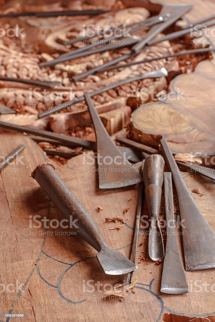 Tools of the wood carver stock photo