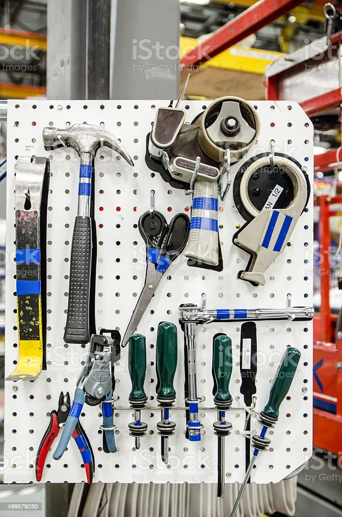 Tools on a board compliant to Lean and 5S stock photo