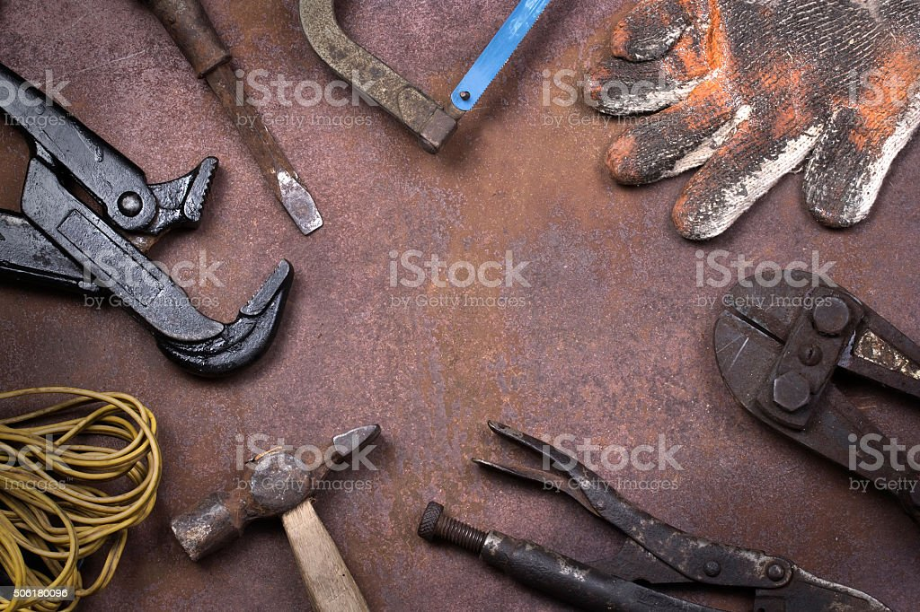 Tools on background rust stock photo