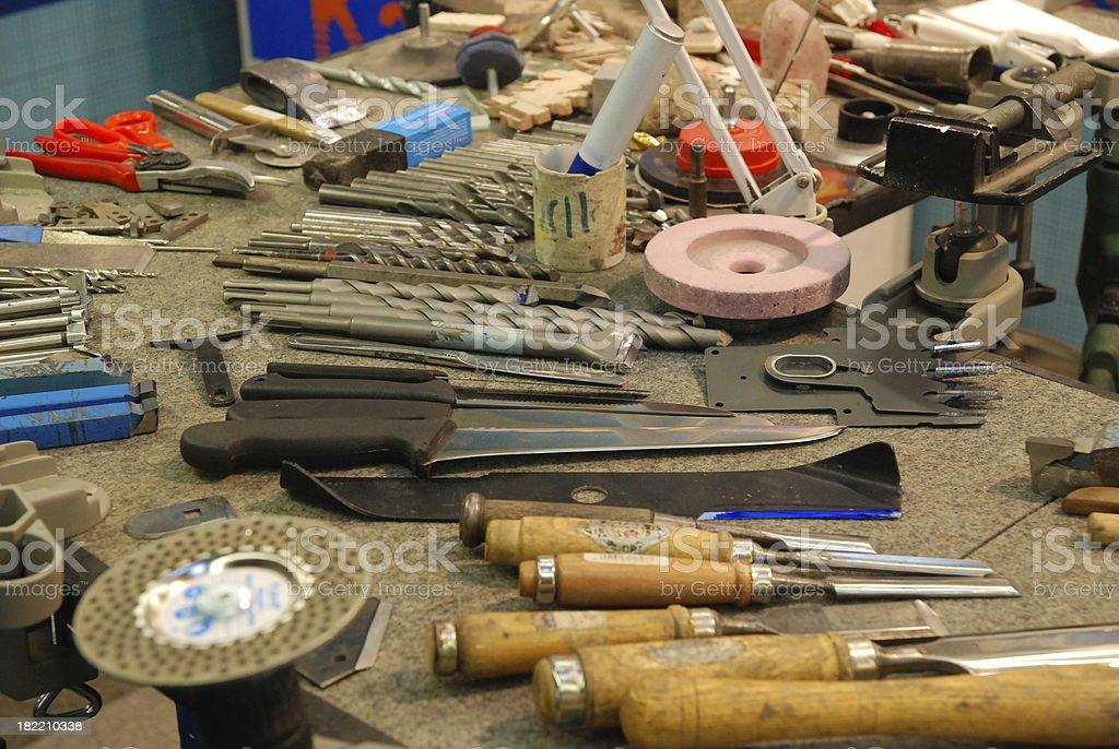 tools on table - Werkzeug auf Tisch stock photo