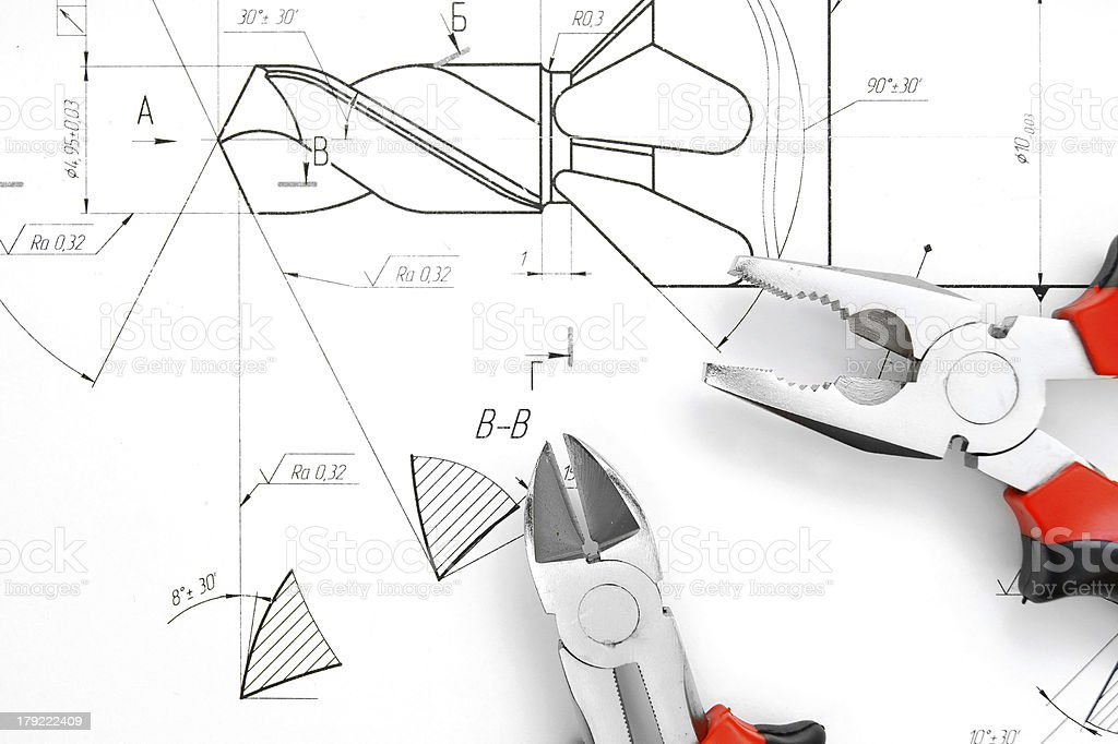 Tools on the drawing. royalty-free stock photo