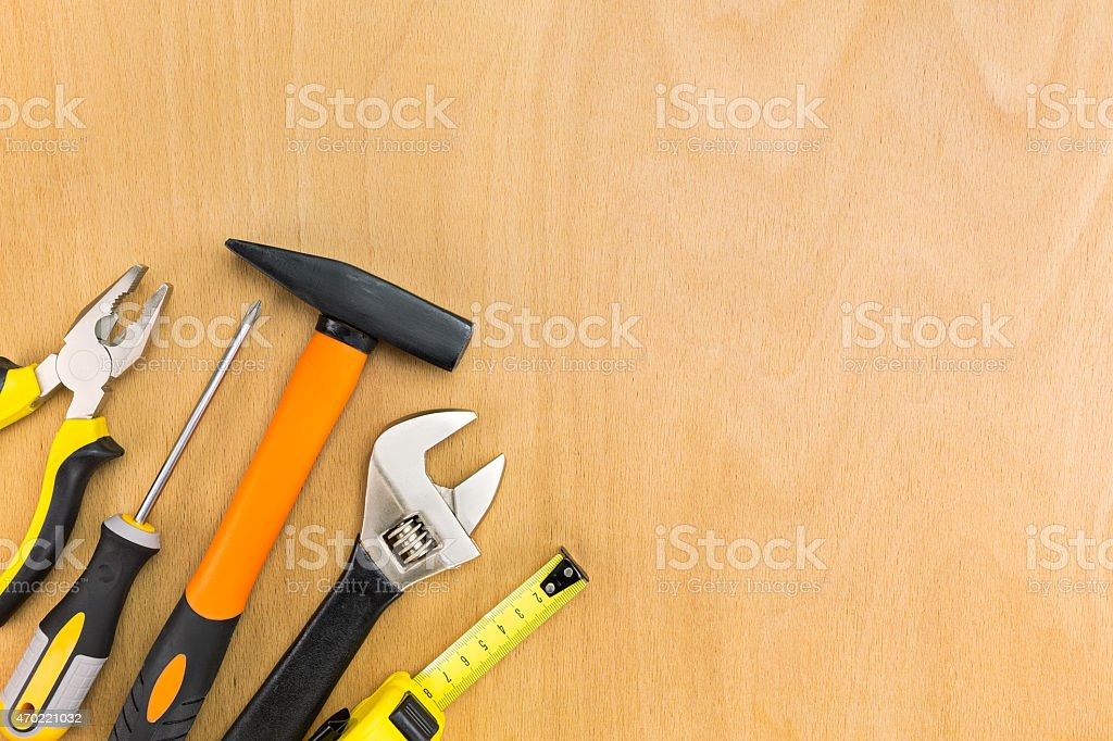 Tools on the wood background stock photo
