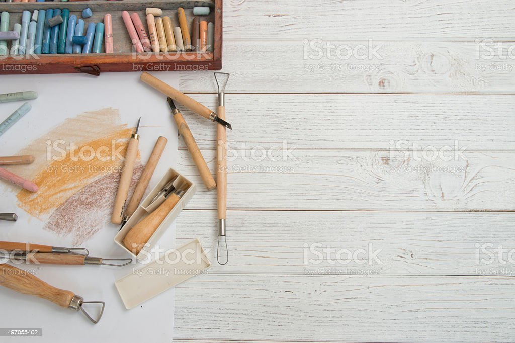 tools on white table stock photo