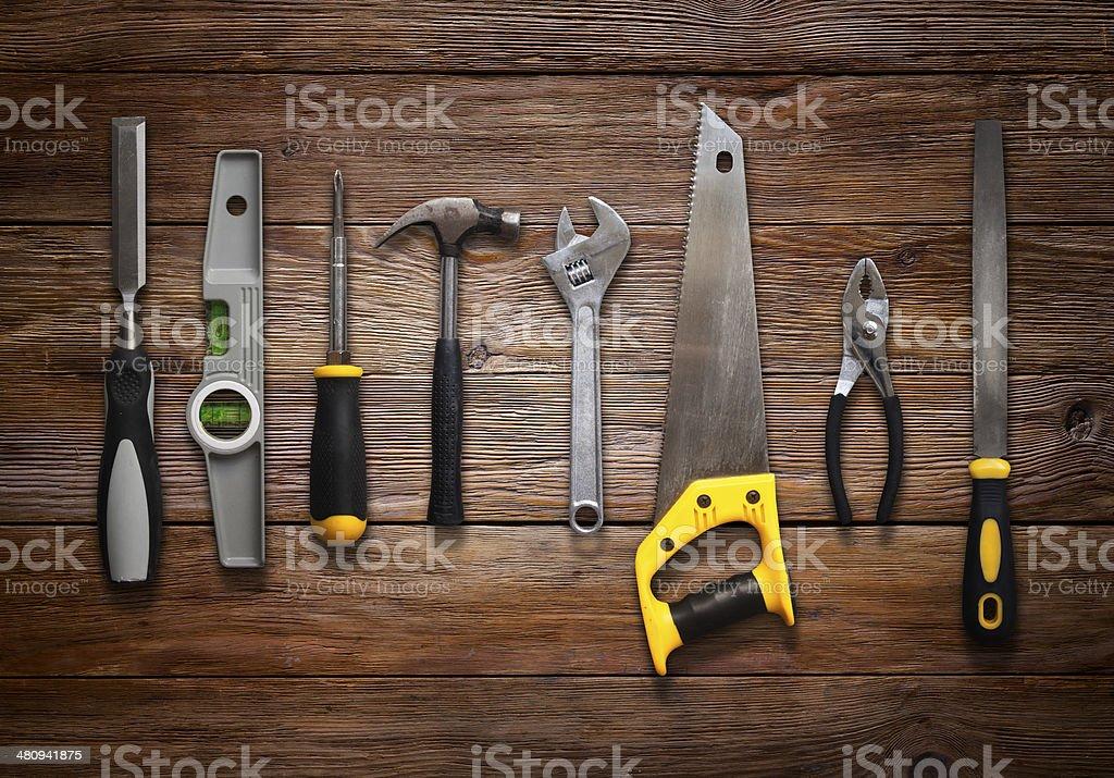 Tools on Wood stock photo