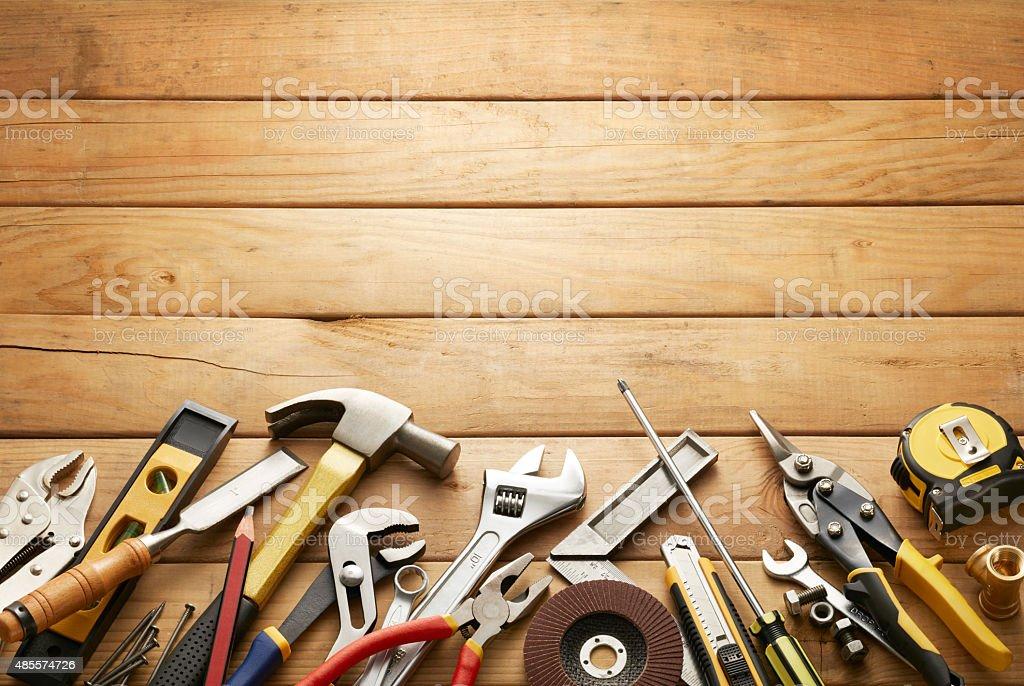 tools on wood planks stock photo