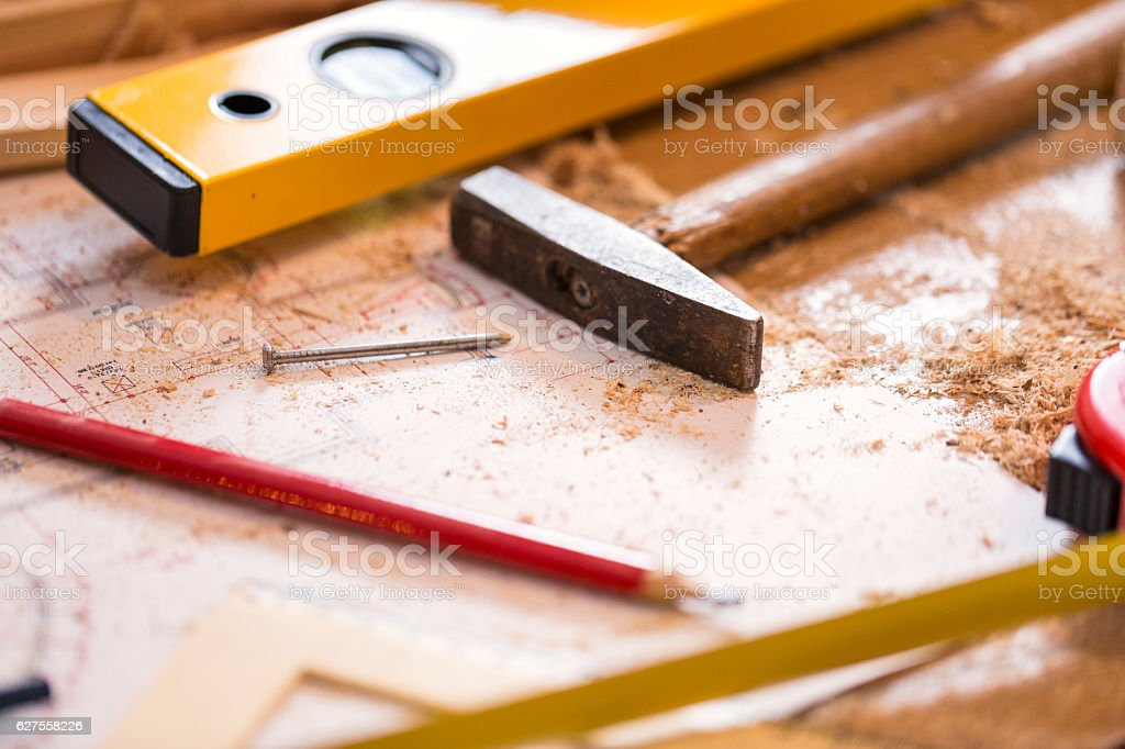 Tools on wooden background royalty-free stock photo