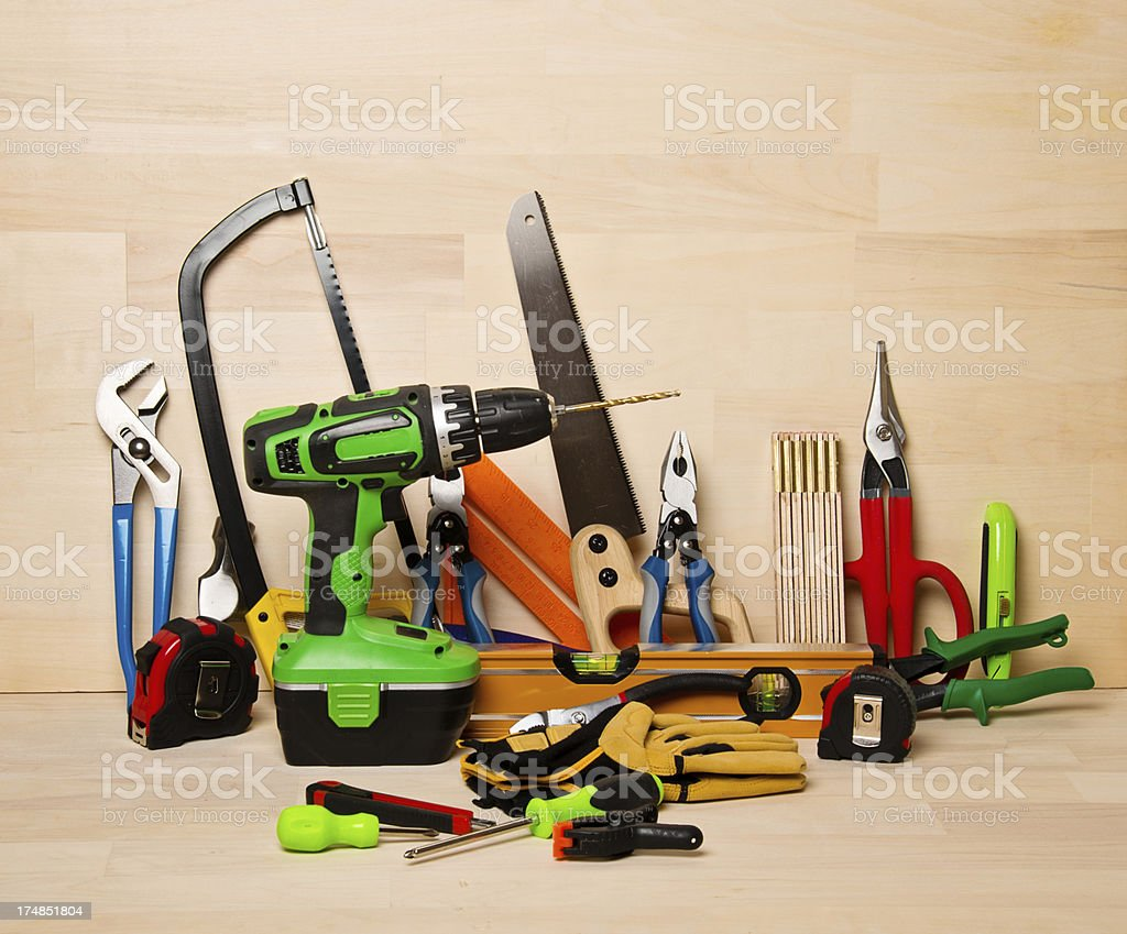 Tools on Wooden Work Bench royalty-free stock photo