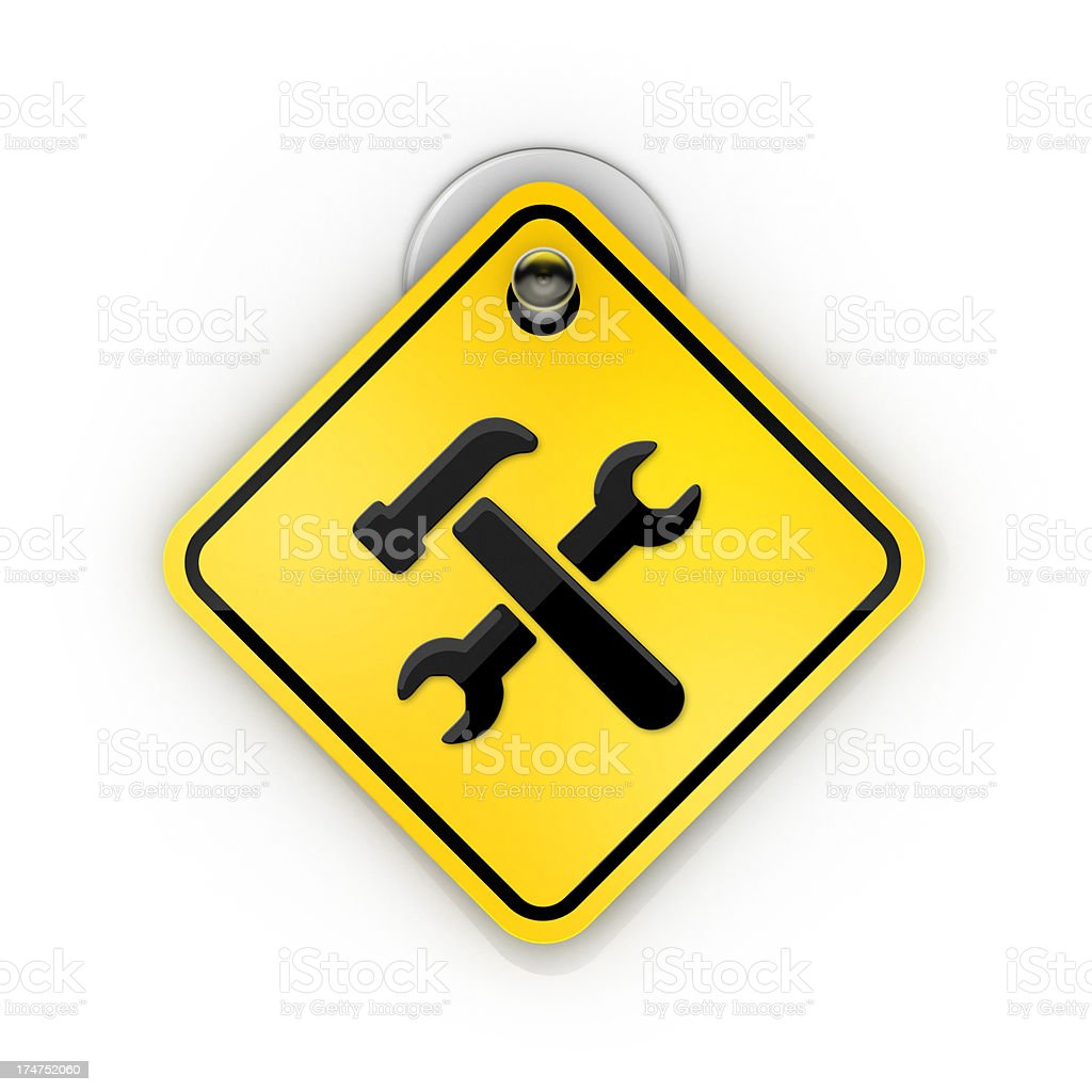 Tools or under construction warning Sticky sign stock photo