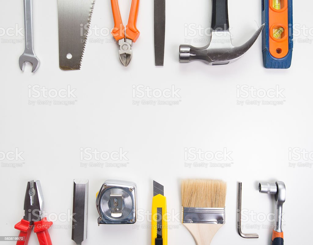 Tools over a blank panel stock photo