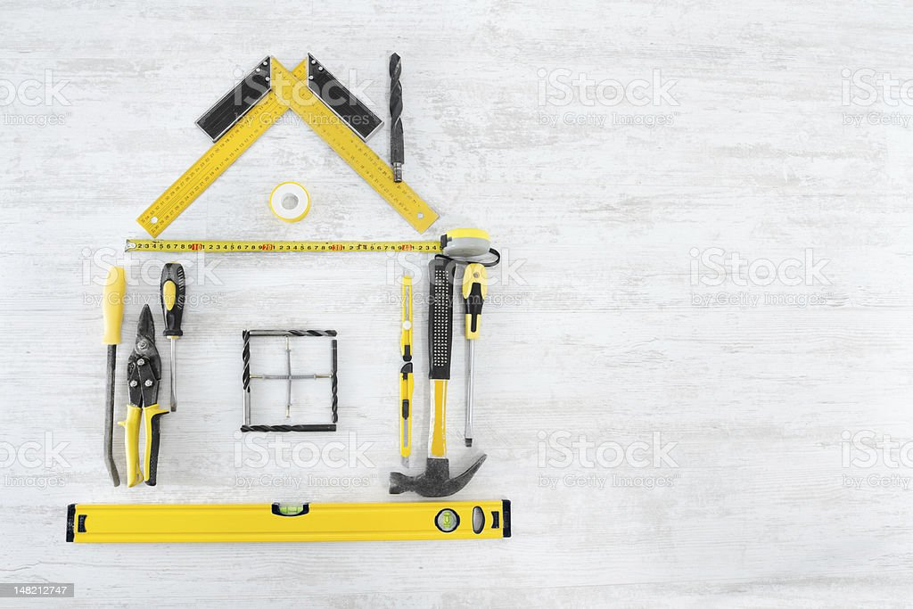 Tools Shape of House, Home Improve and Repair Concept royalty-free stock photo