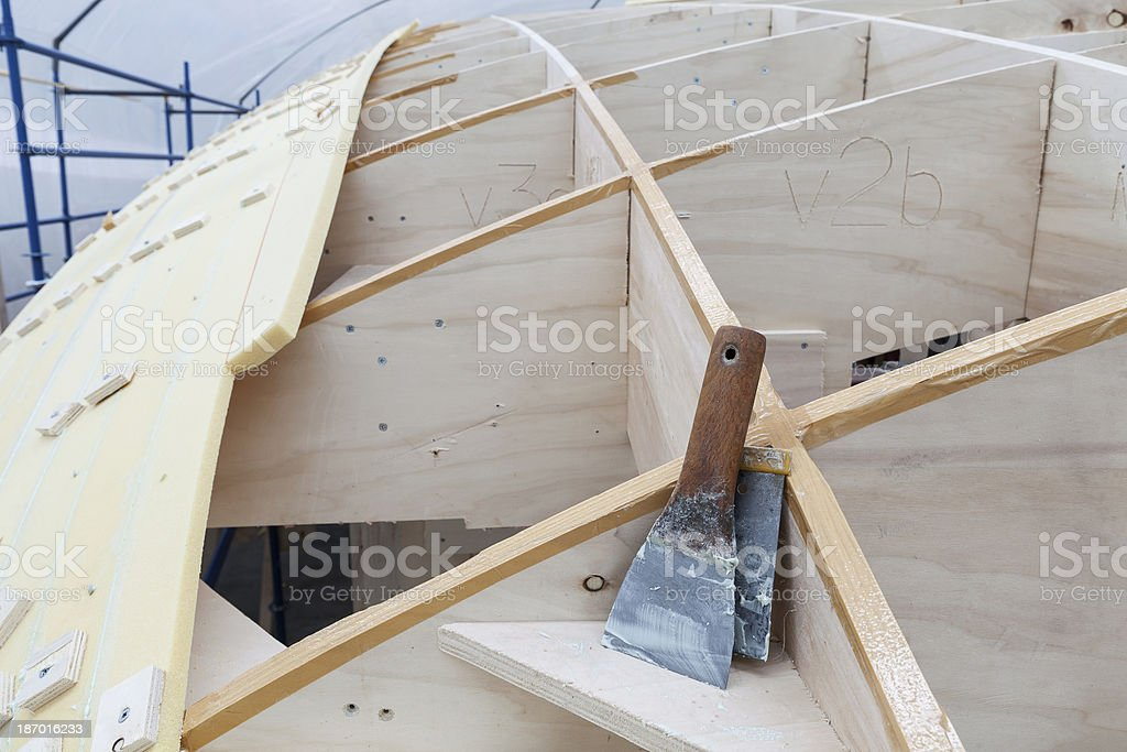Tools stays on the yacht construction stock photo