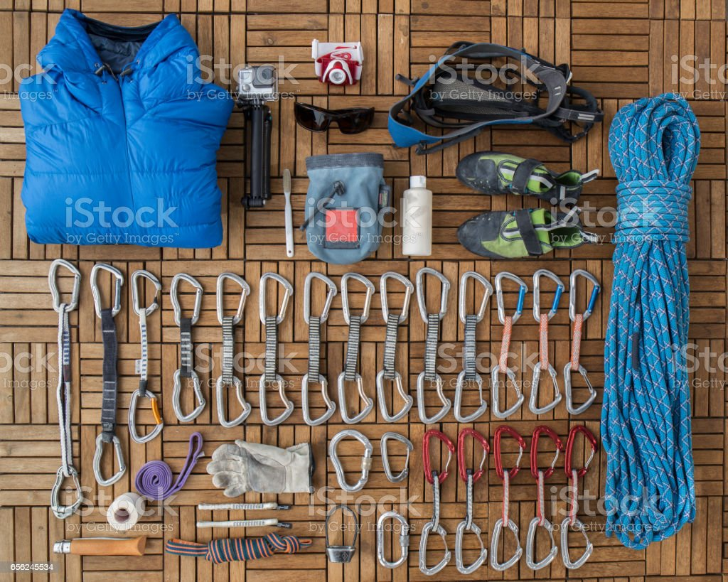 Tools to use when climbing stock photo