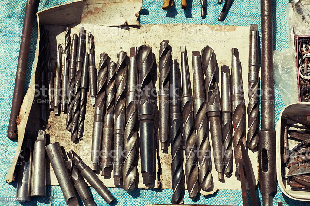 tools used at a flea market sale of the land stock photo