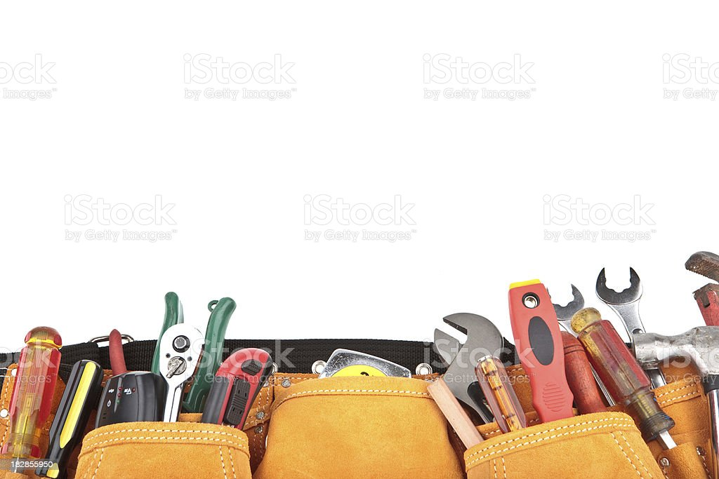 tools with belt and copyspace stock photo