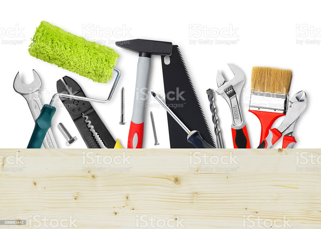 DIY tools with copy space stock photo