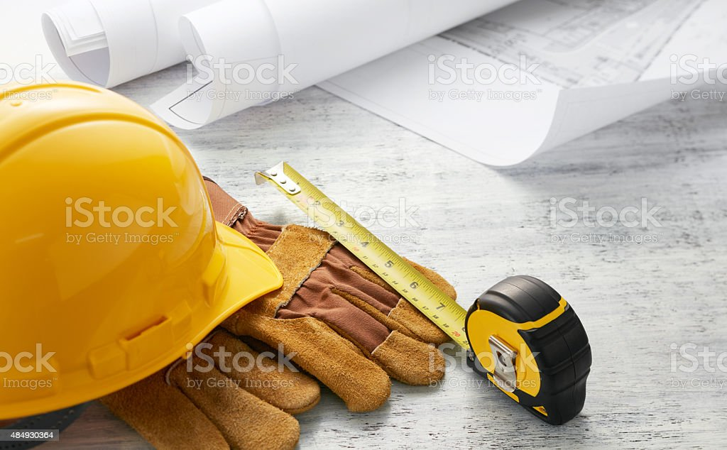 tools with floor plan stock photo