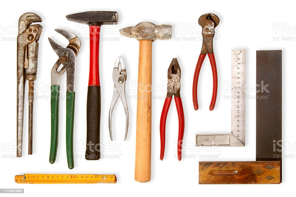Tools with wooden handles and rulers royalty-free stock photo