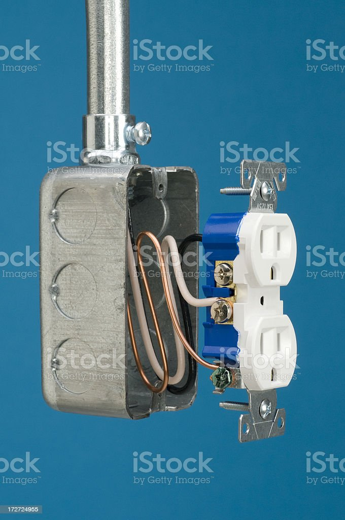 Tools/blue background-11 Electrical box stock photo